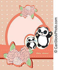 mignon, ours, douche, roses, dorlotez fille, panda, carte