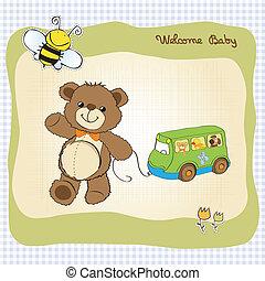 mignon, ours peluche, douche, bébé, carte