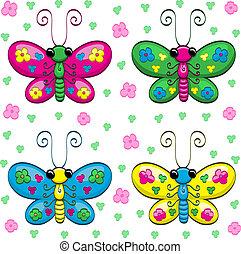 mignon, papillons, dessin animé