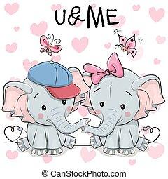 mignon, papillons, deux, dessin animé, éléphants