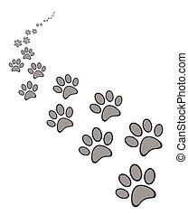 mignon, patte, chien, chat, impression, ou