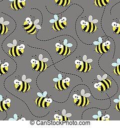 mignon, pattern., abeille, seamless