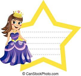 mignon, peu, étoile, isolé, forme, vide, frontière, princesse