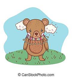mignon, peu, camp, écharpe, ours