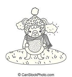 mignon, peu, camp, chapeau, ours