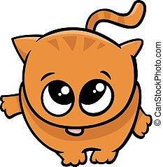 mignon, peu, dessin animé, chat