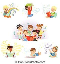 mignon, peu, gosses, childrens, coloré, contes, vecteur, illustrations, mondiale, fée, lecture, rêve, set.