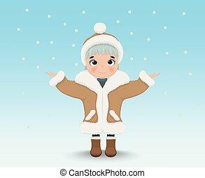 mignon, peu, hiver, neiger, caractère, fond, dehors, girl, heureux, dessin animé, vector.