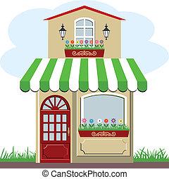mignon, peu, magasin, maison