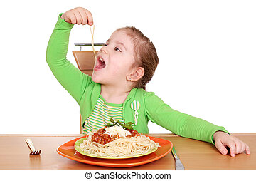 mignon, peu, manger, girl, spaghetti