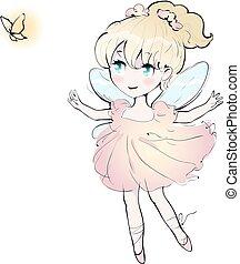 mignon, peu, vecteur, danse, illustration, girl, fée, ballerina.