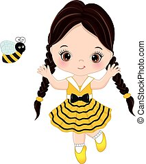 mignon, peu, vecteur, girl, abeille