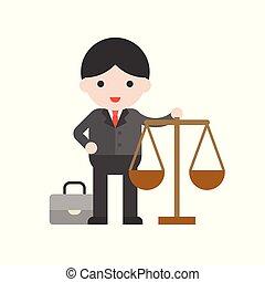 mignon, plat, ensemble, caractère, conception, professionnel, avocat
