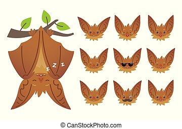 mignon, plat, halloween, bas, pendre, bat-eared, style., têtes, set., animal, branch., créature, emoticon, brun, fermé, illustration, vampire., ailes, chauve-souris, emoji., dormir, vecteur, dessus, émotif