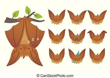 mignon, plat, halloween, bas, pendre, bat-eared, style., têtes, set., animal, branch., créature, emoticon, brun, fermé, illustration, vampire., ailes, chauve-souris, emoji., dormir, dessus, émotif