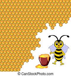 mignon, pot, entouré, abeille, miel, rayons miel, dessin animé