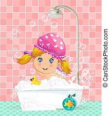 mignon, prendre, bain, dorlotez fille, bulle, blond, dessin animé