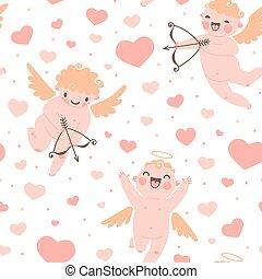mignon, romantique, modèle, valentines, seamless, cupidon, hearts., jour