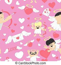 mignon, romantique, modèle, valentines, seamless, vecteur, jour