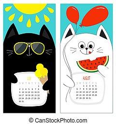 mignon, rouges, fruit., caractère, jaune, blanc, crème, calendrier, noir, soleil, pastèque, plat, design., août, briller, dessin animé, chat, month., bleu, juillet, set., été, rigolote, sunglasses., bonjour, glace, arrière-plan., balloon, 2017.