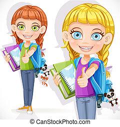 mignon, sac à dos, étudiant fille, manuel