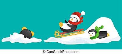 mignon, salutation, écharpe, deux, glace, neige, diapositives, veille, vecteur, year., illustration, nouveau, manchots, chapeau, noël, sledding, heureux