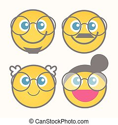 mignon, smiley, ensemble, dessin animé, heureux