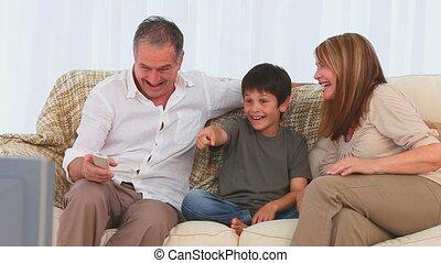 mignon, télé regarde, famille