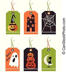 mignon, tags., ensemble, illustration., halloween, main, vecteur, dessiné