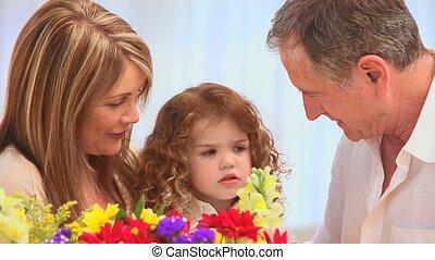 mignon, tas, famille, fleurs