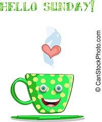 mignon, tasse, texte, dessin animé, dimanche, vert, sourire, bonjour