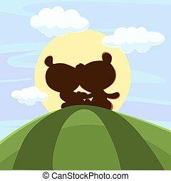 mignon, teddy, coucher soleil, ours, séance