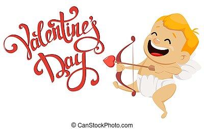 mignon, tenue, valentines, salutation, cupidon, arc, flèche, jour, carte