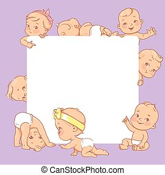 mignon, texte, vide, frame., bébés, peu