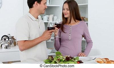 mignon, toast, couple, donner