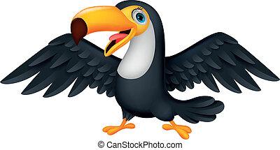 mignon, toucan, oiseau, dessin animé