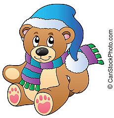 mignon, vêtements, hiver, ours, teddy