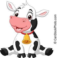 mignon, vache, dessin animé, séance bébé