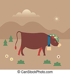 mignon, vache, plat, couleur, caractère, main, vecteur, dessiné