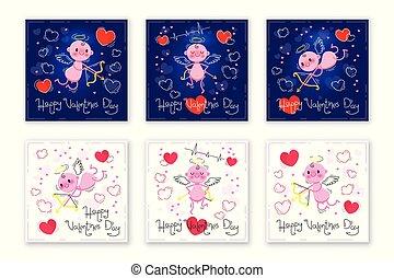 mignon, valentines, illustration, vecteur, cupidon, cartes, hearts., jour