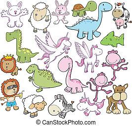 mignon, vecteur, ensemble, animal, illustration