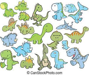 mignon, vecteur, ensemble, dinosaure