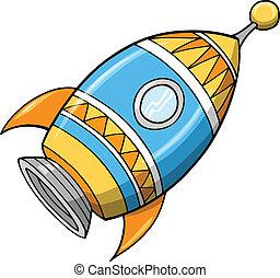 mignon, vecteur, fusée, illustration