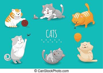 mignon, vecteur, illustration, chatons