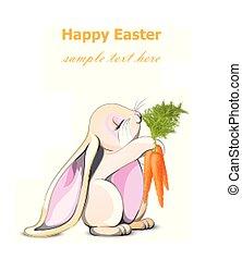 mignon, vector., carottes, caractère, lapin lapin, tenue, paques, dessin animé, carte, heureux