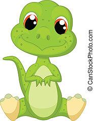 mignon, vert, dessin animé, dinosaure