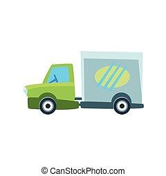 mignon, voiture jouet, camion livraison, petit, icône