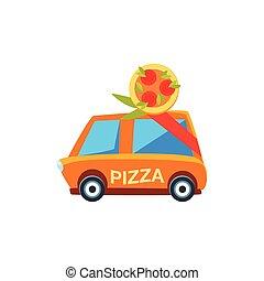 mignon, voiture jouet, livraison, icône, pizza