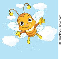 mignon, voler, ciel, abeille