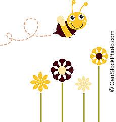 mignon, voler, isolé, abeille, fleurs blanches